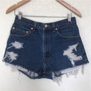 Levi's high rise cutoff shorts distressed v shape